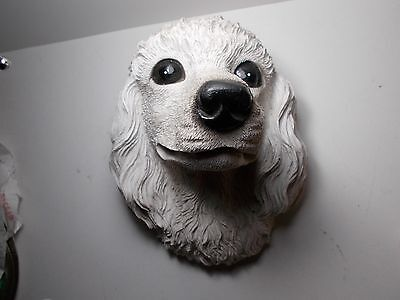 Vintage  Wall Plaque White Poodle Not Bossons Resin