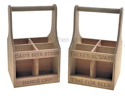Wooden Beer Crate 4 Bottle Carrier Holder Gift Box Rustic Vintage Chic Shabby