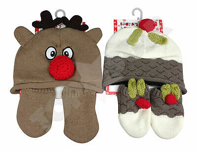 Baby Boys / Girls Christmas Woolly Hat + Mittens Bobble Winter Xmas 0 - 12 M NEW