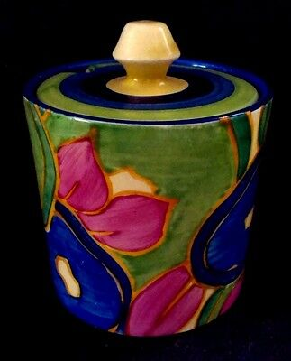 "Clarice Cliff Bizarre ""Blue Chintz"" Barrel Preserve pot"