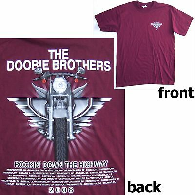 Doobie Brothers Rockin Highway 2008 Tour Maroon Red T-Shirt Adult Medium New