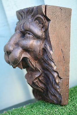18thC GOTHIC WOODEN OAK LION HEAD CORBEL WITH INTRICATE CARVING c1780s