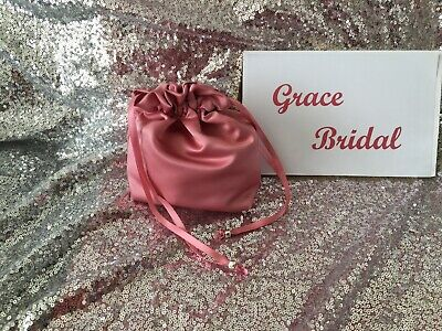 ROSE PINK DUCHESS SATIN DOLLY BAG  BRIDESMAID FLOWER GIRL BNIP **free samples*