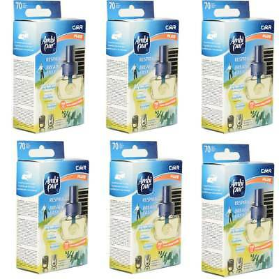 6x Ambi Pur Car Plus -Respira Breathe Easy - Nachfüller 8ml Lufterfrischer Auto