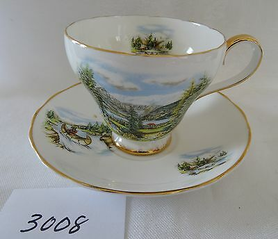 ROYAL ADDERLEY England Cup & Saucer set LAKE LOUISE Canoe Fisherman scenic