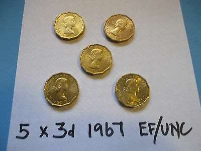 High Grade Ef 5 Elizabeth Brass Threepence Coins All Dated 1967 [# A 78 ]