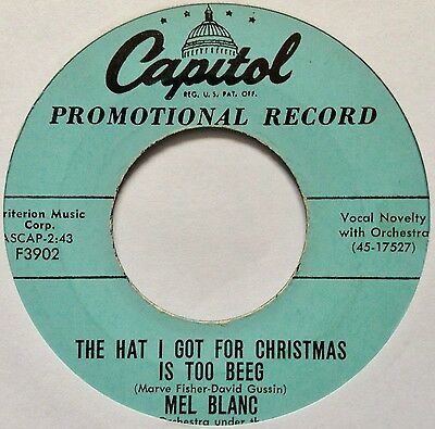 Mel Blanc: The Hat I Got For Christmas Is Too Beeg (U.s. Promo)