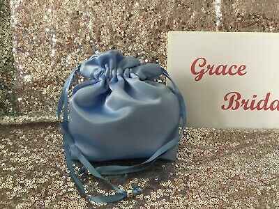 SKY BLUE DUCHESS SATIN DOLLY BAG  BRIDESMAID FLOWER GIRL BNIP **free samples*