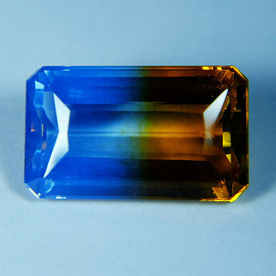 21.05ct.AWESOME BI-COLOR AMETRINE YELLOW BLUE OCT GEM