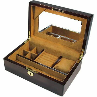 Mahogany Jewellery Box with Lock and Mirror by Hillwood