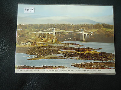 great britain old welsh postcard menai bridge unused