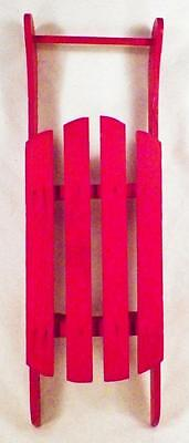 Christmas Sled Decoration Red Painted Wood Wooden Small Holiday Decor