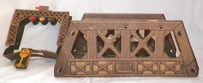 Vintage Cardboard Bridge 4 Railroad Train Display Toy Christmas Putz Lithograph