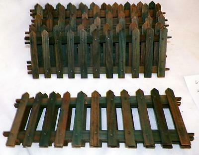 Antique Christmas Tree Fence Green Stained Wood Putz Feather Tree #5