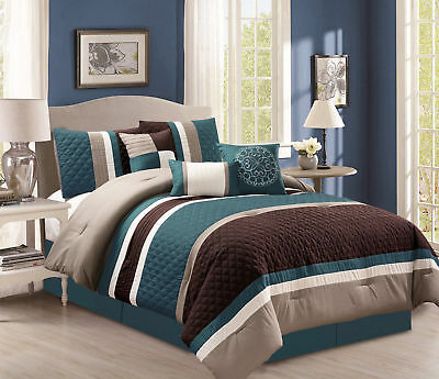 7-Piece Pinsonic Quilted Quatrefoil Pleated Stripe Comforter Set Cal King, Teal