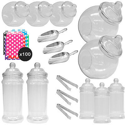 10x Jars Sweet Shop Candy Buffet Wedding Kids Party Kit Scoops+Tongs+ Spotty Bag