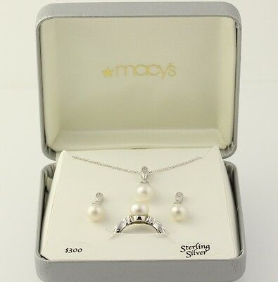 New Culture Pearl & Diamond Set - Sterling Silver Ring Earrings Pendant Necklace
