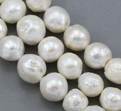 12-15mm White Huge Big Large Nucleated Round Baroque Freshwater Pearls Beads
