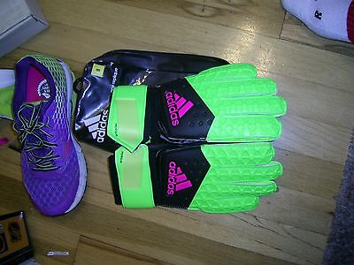 ADIDAS Ace Replique Soccer Gloves Green / Black / Pink Size 8    AH7811   NEW