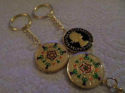 Vintage Enamelled Two Shilling Coin Keyring. Birthday Xmas Present. Many Dates