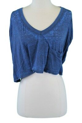 616cf323d2f FREE PEOPLE Women's Blue Sheer V-Neck Crop Top w/ Front Pocket Sz Small