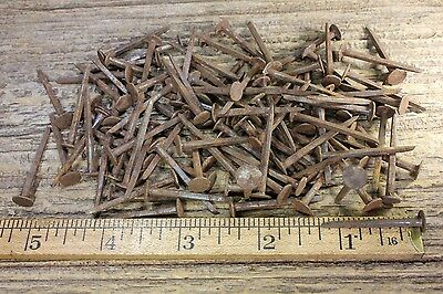 "1 1/4"" Old BRAD square NAILS 25 in lot round head vintage 1850's rusty patina"