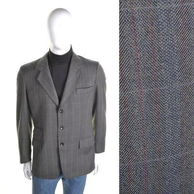 BURBERRY VTG 70s Tweed Check Blazer M 40R Grey Wool Suit Jacket Designer 1970s