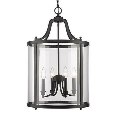 Golden Lighting 1157-4P BLK Payton 4 Light Pendant in Black with Clear Glass