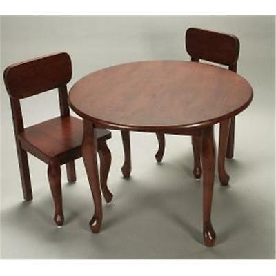 Giftmark Childrens Round Solid Wood Queen Anne Table & Chair Set Cherry