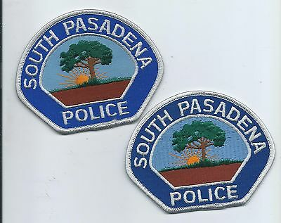 Two generations of South Pasadena P.D. patches - Twill & Fully Embroidered