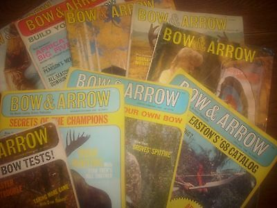 vintage bowhunting magazine,1967, 1968. BOW & ARROW ..9 issues