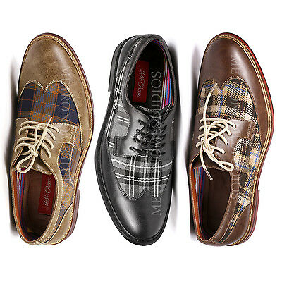 Metrocharm Men's Plaid Lace Up Wing Tip Classic Oxford Fashion Dress Shoes