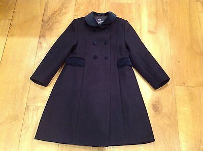 Trotters Classic Coat Traditional Navy Blue 100% Wool Velvet Collar Girls Age 5