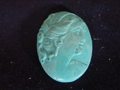 Vintage Hand Carved Turquoise Mix Cameo