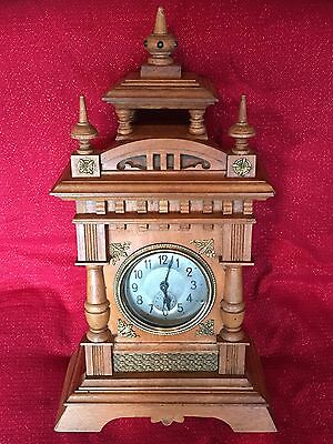 Large Antique German Black Forest Castle Style Musical Alarm/Table Clock