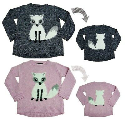 Girls Kids Novelty Jumper Sweater Knitted Winter Top Pullover Reverse 3-10y