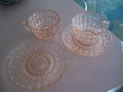 """Holiday pink Buttons & Bows cups(2),saucer,and 6"""" sherbet plate"""