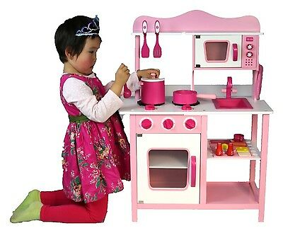 Wood Kitchen Toy Kids Toddler Pretend Cooking Play Set Pink Wooden Playset New