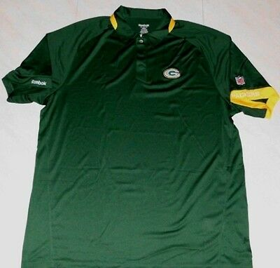 6ca1f48be Green Bay Packers Sideline Polo Shirt Adult Small Stay Dry Green  Embroidered NFL