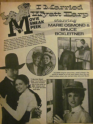 Marie Osmond, Full Page Vintage Clipping, Bruce Boxleitner, I Married Wyatt Earp