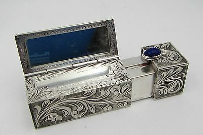 Vintage 50's Italy Engraved 800 Silver Lipstick Cabochon Lapi Case / Compact