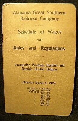 Alabama Great Southern RR Co Schedule Wages Rules Regulationa 1924