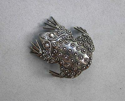 "Toad Frog Cannetille Filigree Pin Brooch 1 3/4"" x 1 1/2"" Sterling Silver 7.96 Gr"