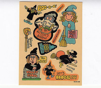 Vintage 1983 Paper Art Giggle Stickers Sheet - Halloween Witch