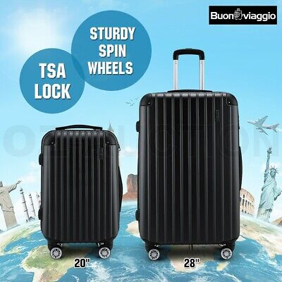 2PC Luggage Suitcase Trolley Set TSA Carry On Bag Hard Case Lightweight-Black
