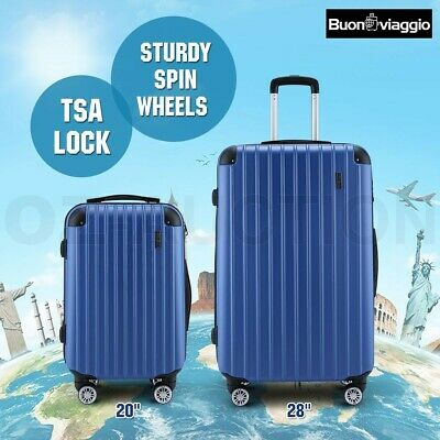 2pc Luggage Suitcase Trolley Set TSA Lock Travel Carry On Bag Lightweight-Blue