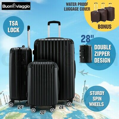 3pc Luggage Suitcase Trolley Set TSA Carry On Bag Hard Case Lightweight-Black