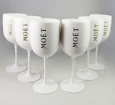 Moet Chandon Ice Imperial Glasses White Acrylic Champagne Glasses NEW Set of 6
