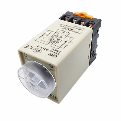 AH3-3 0-60 Minutes 8 Pin Plastic Housing Delay Timer Time Relay 110VAC + Base
