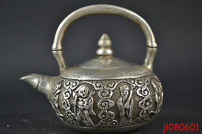Collectible China Vintage Old Copper Silver Plate Delicate Relievo Decor Teapot